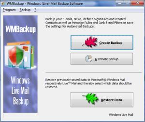 Windows Live Mail Backup, WMBackup - Data Backup for Windows