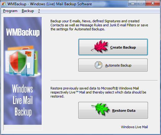 Click to view WMBackup - Windows Live Mail Backup Software 3.12 screenshot